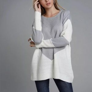 Boho Color Block Oversized Pullover Sweater GRAY